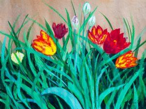 Tulips by the Farmhouse Door